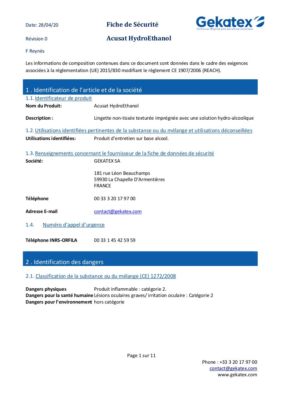 FDS  Acusat HYDROETHANOL FRENCH V00.pdf - page 1/11