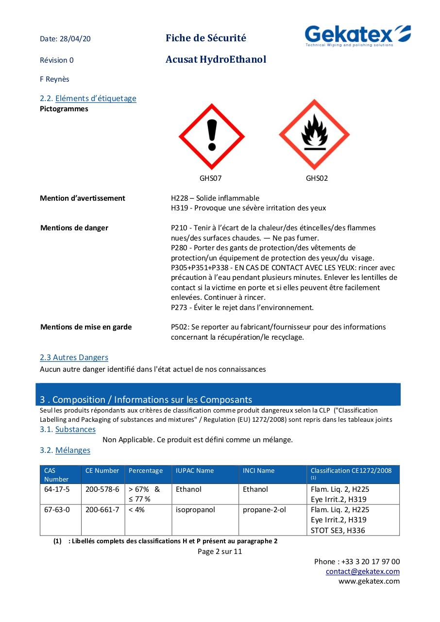 FDS  Acusat HYDROETHANOL FRENCH V00.pdf - page 2/11