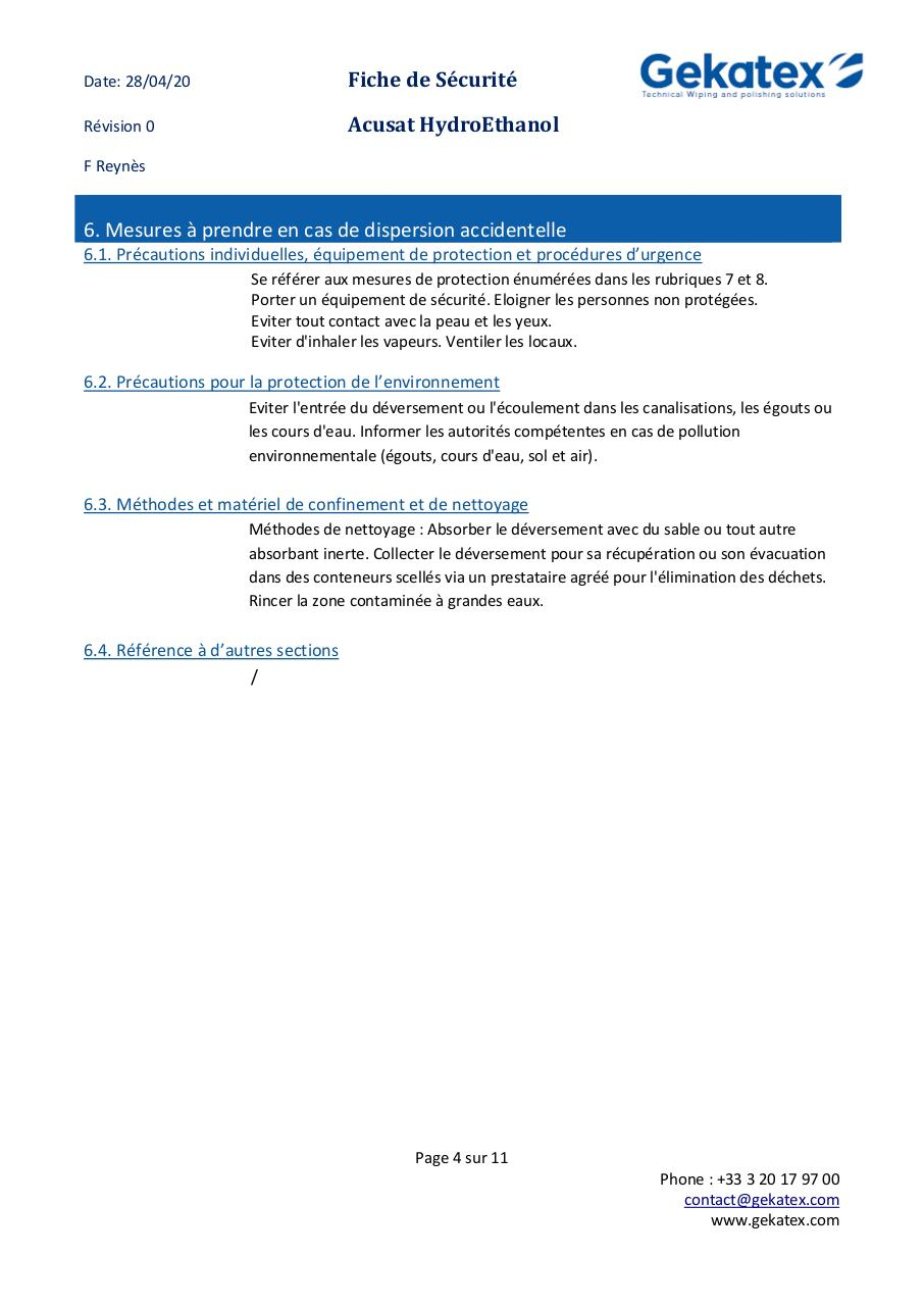 FDS  Acusat HYDROETHANOL FRENCH V00.pdf - page 4/11